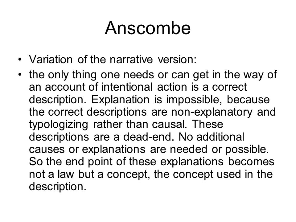Anscombe Variation of the narrative version: