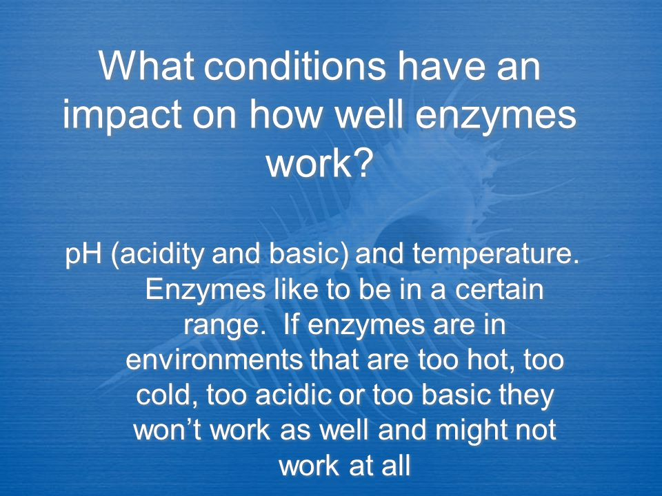 What conditions have an impact on how well enzymes work