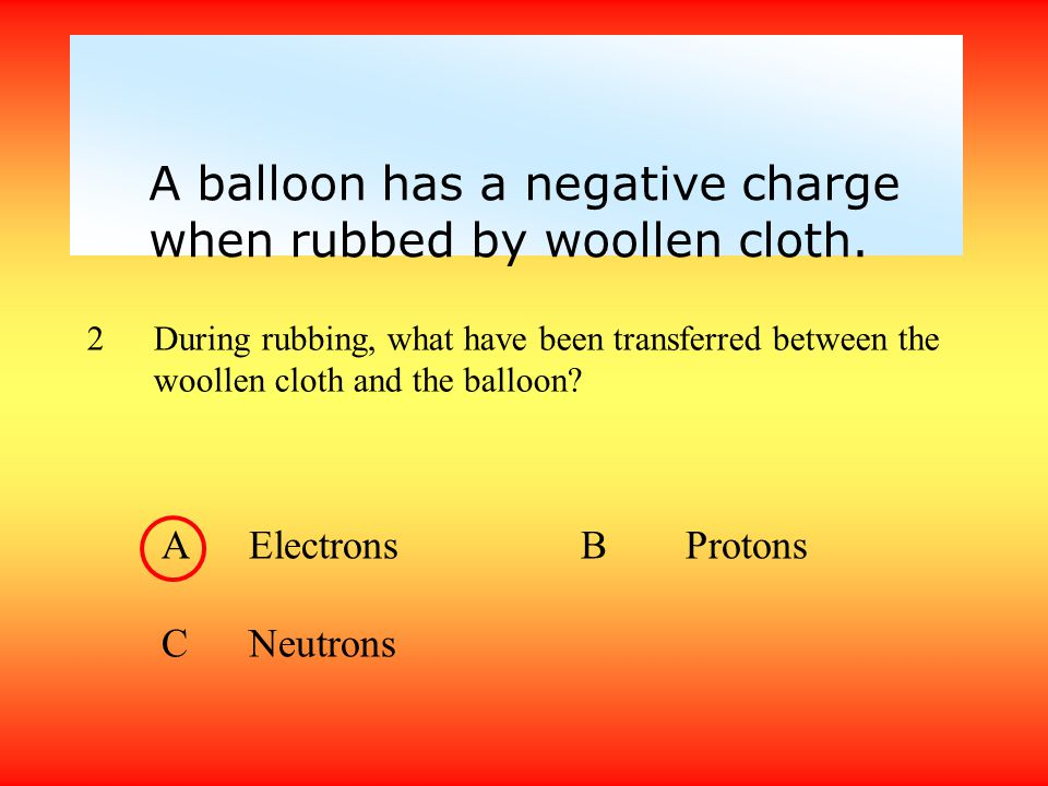 A balloon has a negative charge when rubbed by woollen cloth.