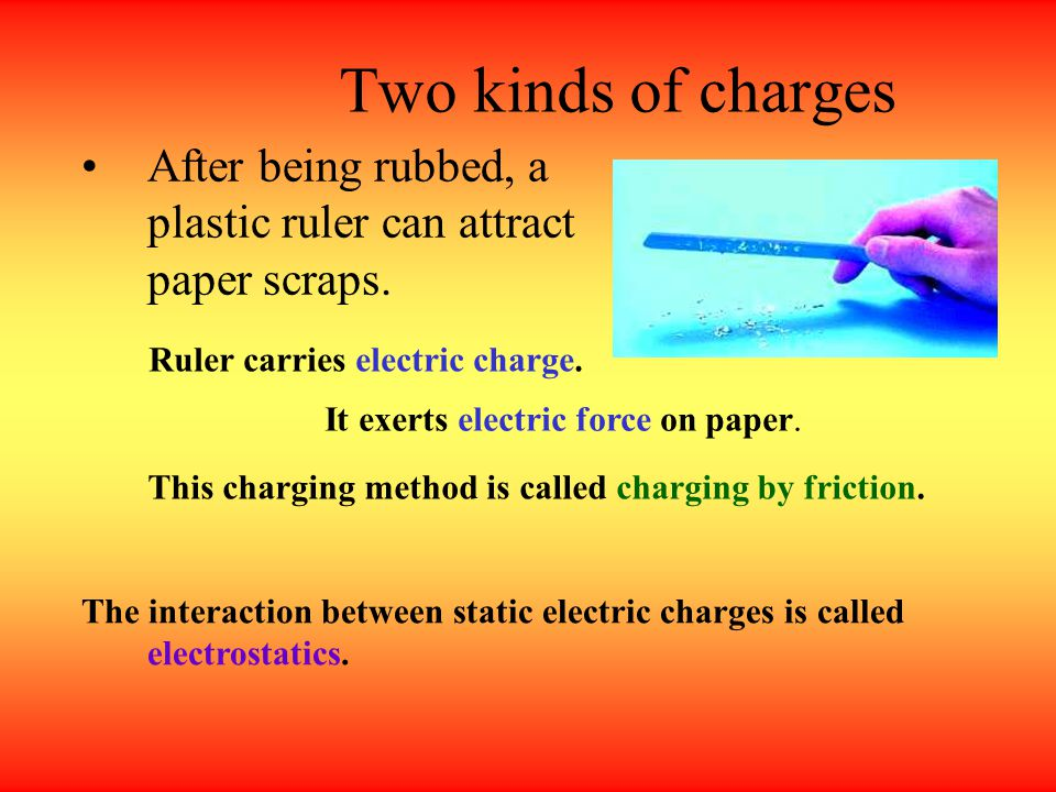 Two kinds of charges After being rubbed, a plastic ruler can attract paper scraps. Ruler carries electric charge.