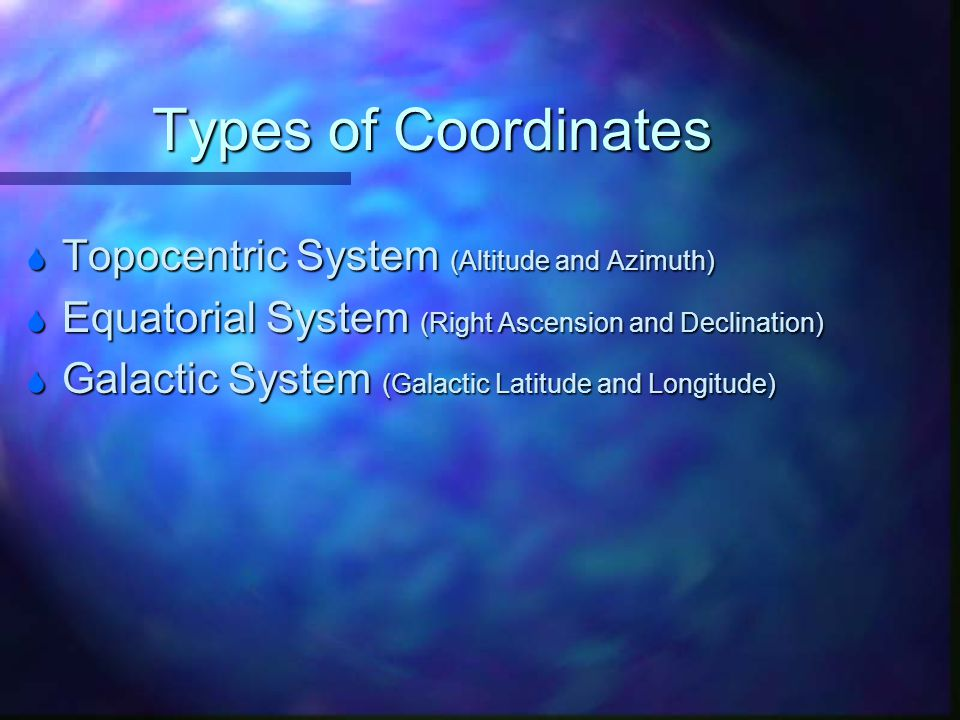 Types of Coordinates Topocentric System (Altitude and Azimuth)