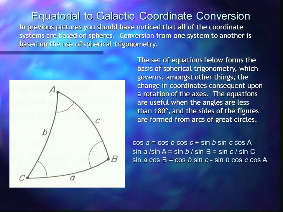 Equatorial to Galactic Coordinate Conversion