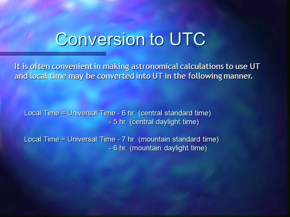 Conversion to UTC