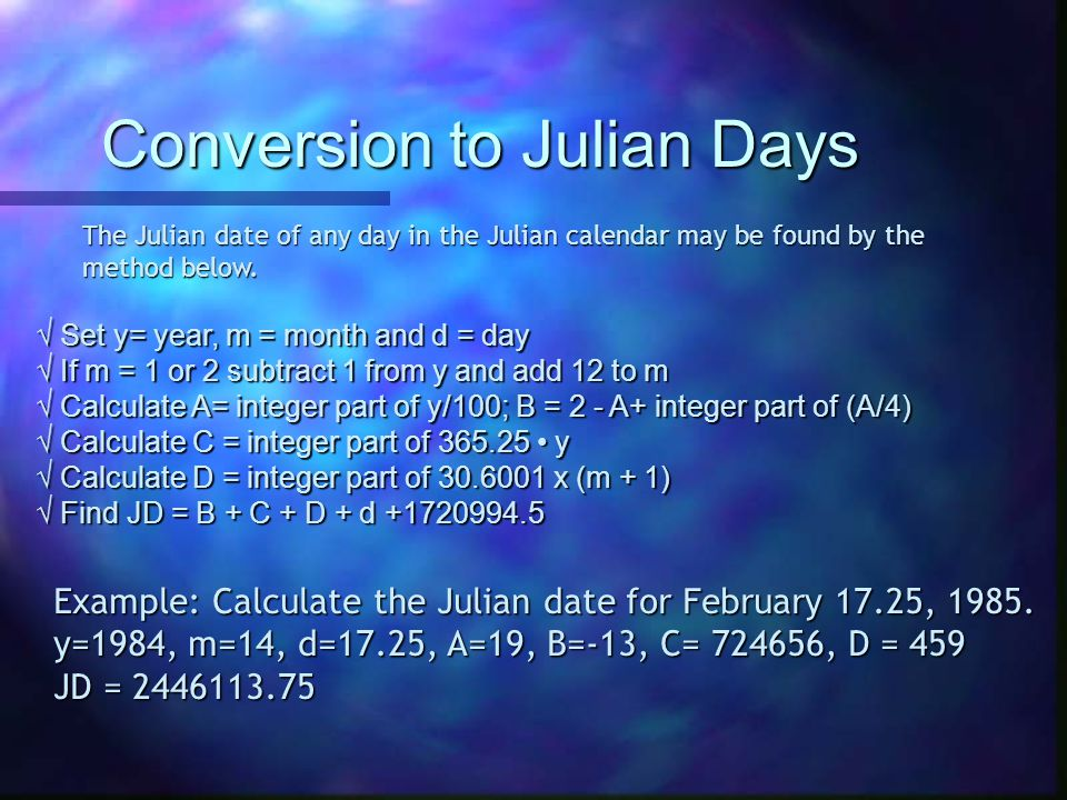 Conversion to Julian Days