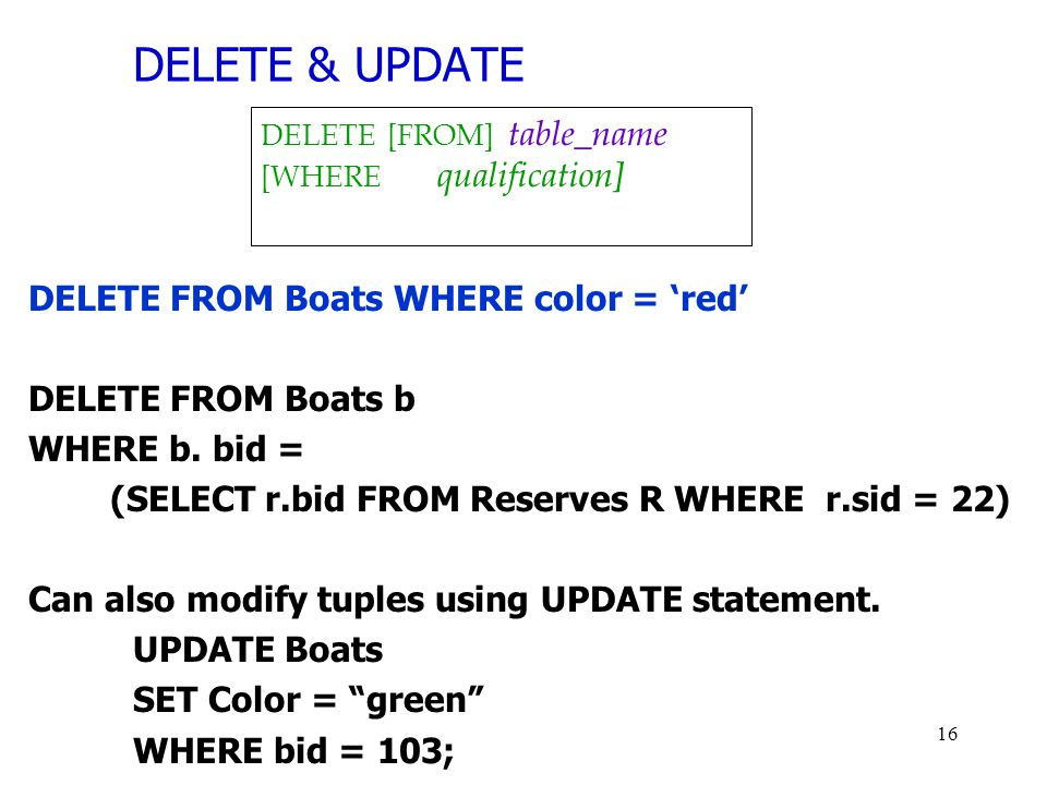 DELETE & UPDATE DELETE FROM Boats WHERE color = 'red'