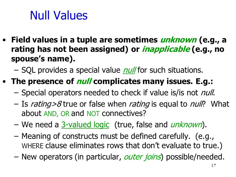Null Values Field values in a tuple are sometimes unknown (e.g., a rating has not been assigned) or inapplicable (e.g., no spouse's name).