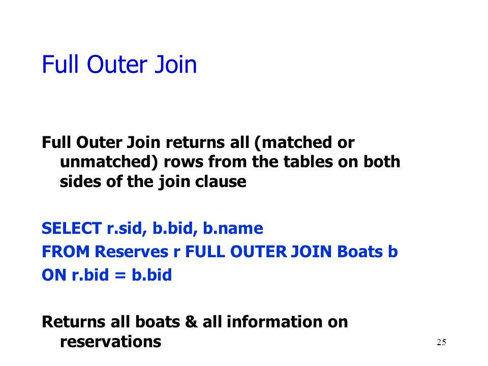 Full Outer Join Full Outer Join returns all (matched or unmatched) rows from the tables on both sides of the join clause.