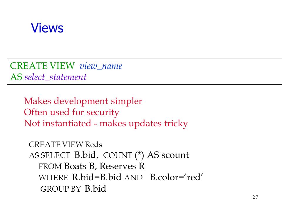 Views CREATE VIEW view_name AS select_statement