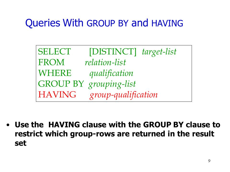 Queries With GROUP BY and HAVING