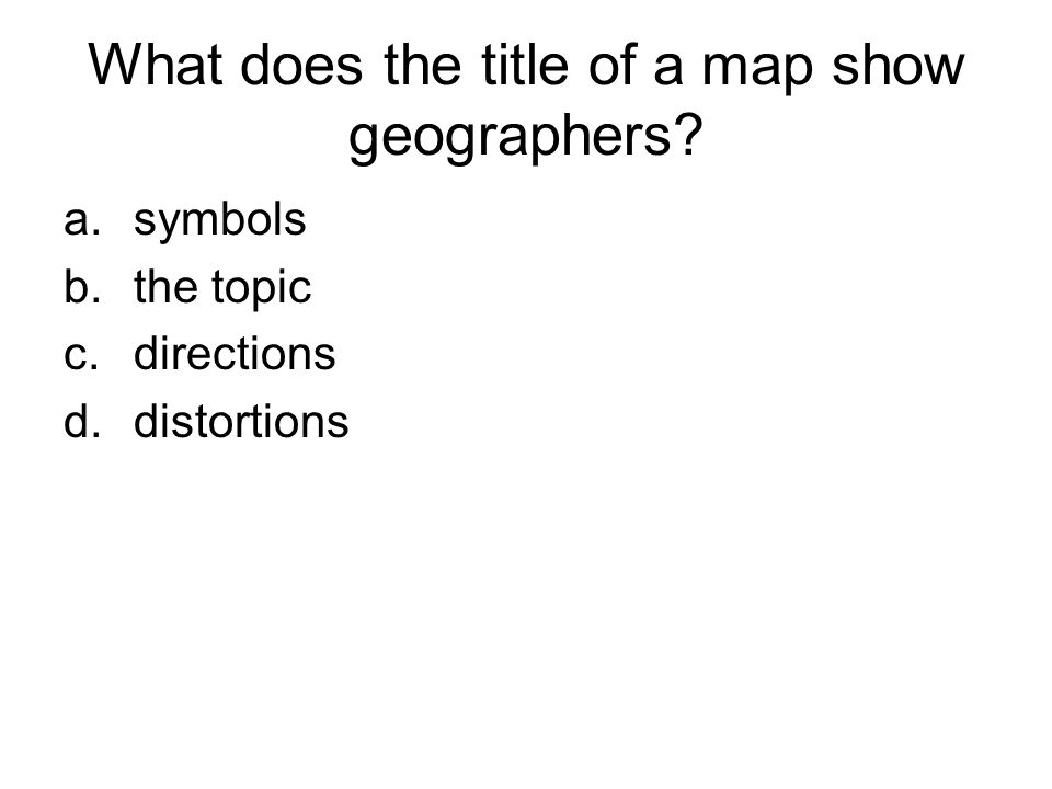 What does the title of a map show geographers