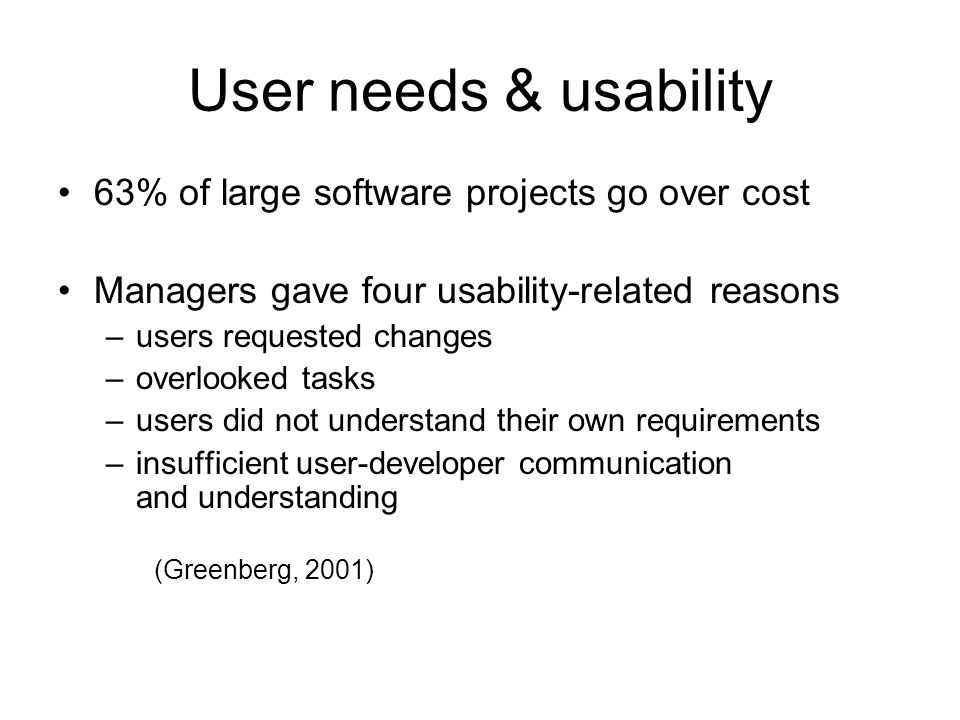 User needs & usability 63% of large software projects go over cost