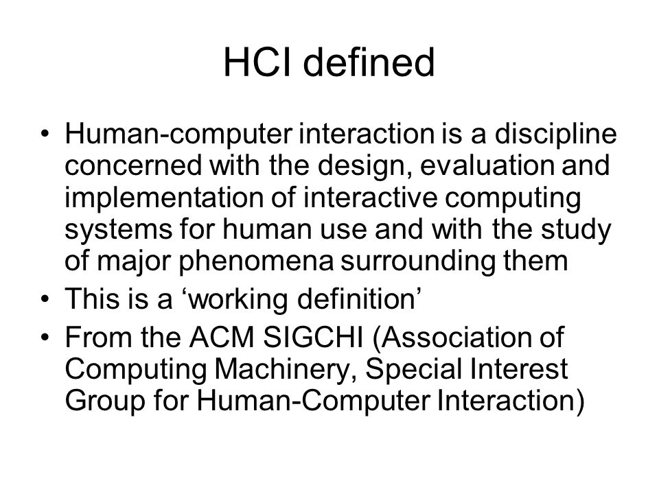 HCI defined