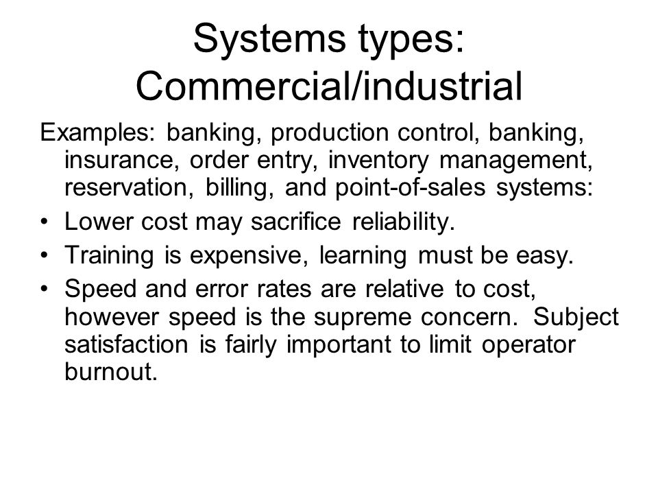 Systems types: Commercial/industrial