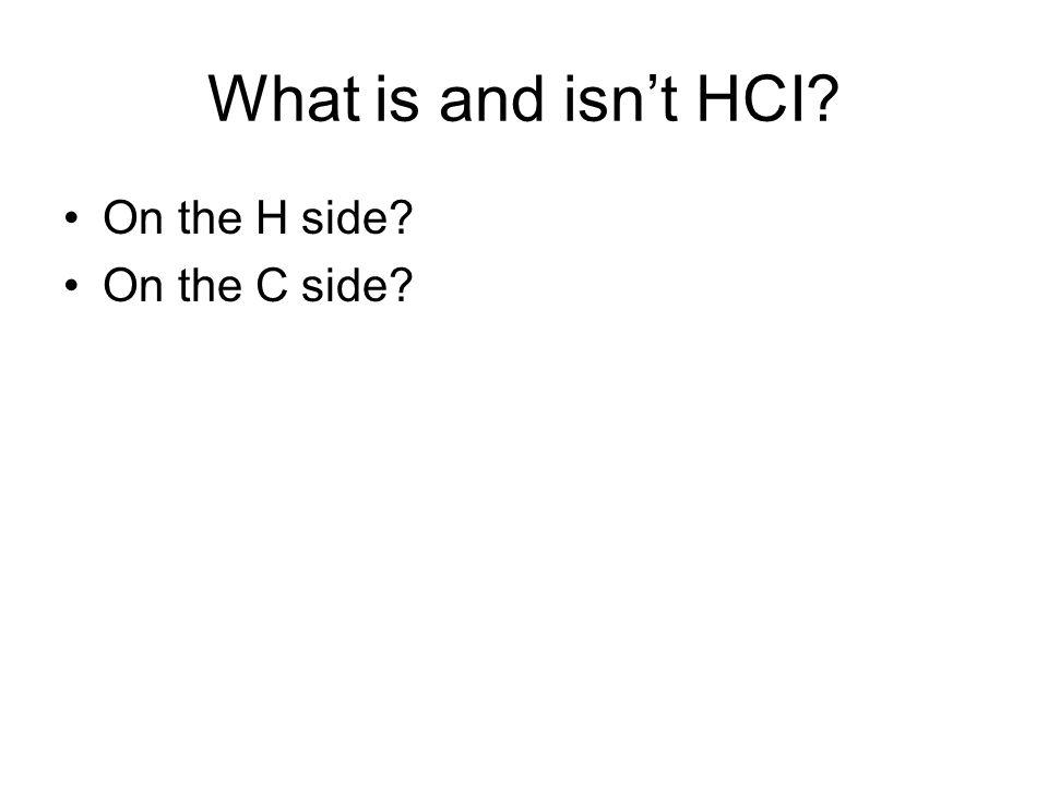 What is and isn't HCI On the H side On the C side