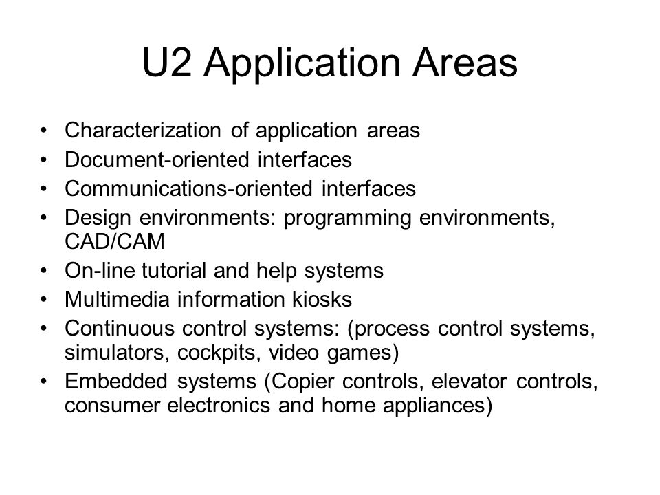 U2 Application Areas Characterization of application areas