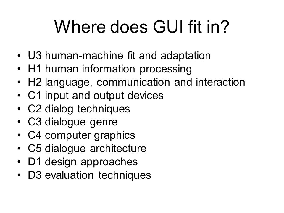 Where does GUI fit in U3 human-machine fit and adaptation