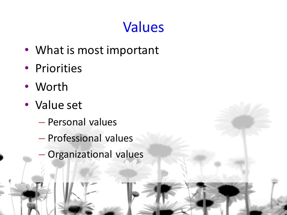 Values What is most important Priorities Worth Value set
