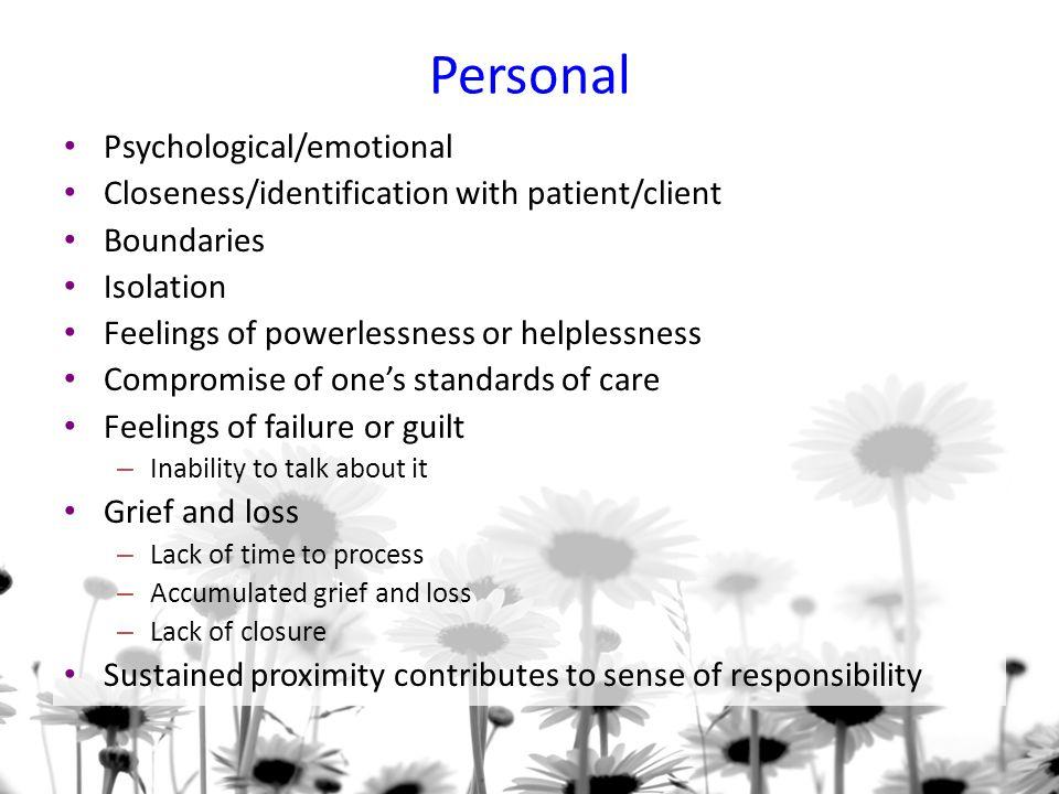Personal Psychological/emotional