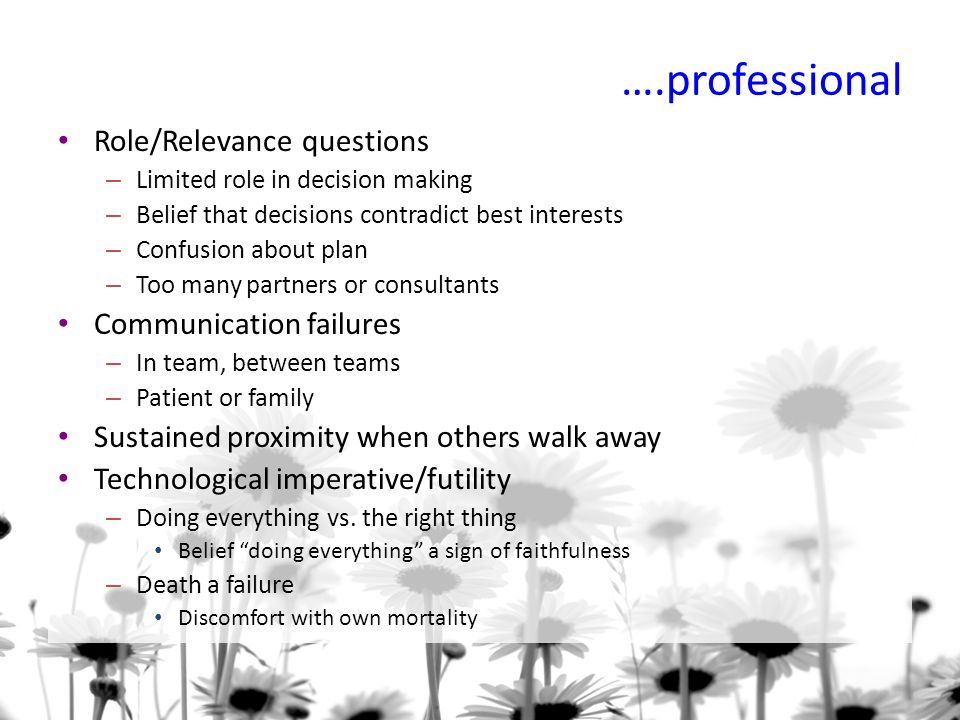 ….professional Role/Relevance questions Communication failures