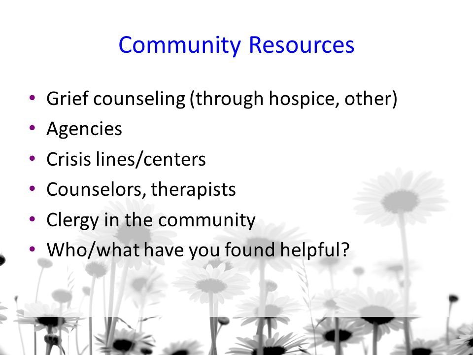 Community Resources Grief counseling (through hospice, other) Agencies
