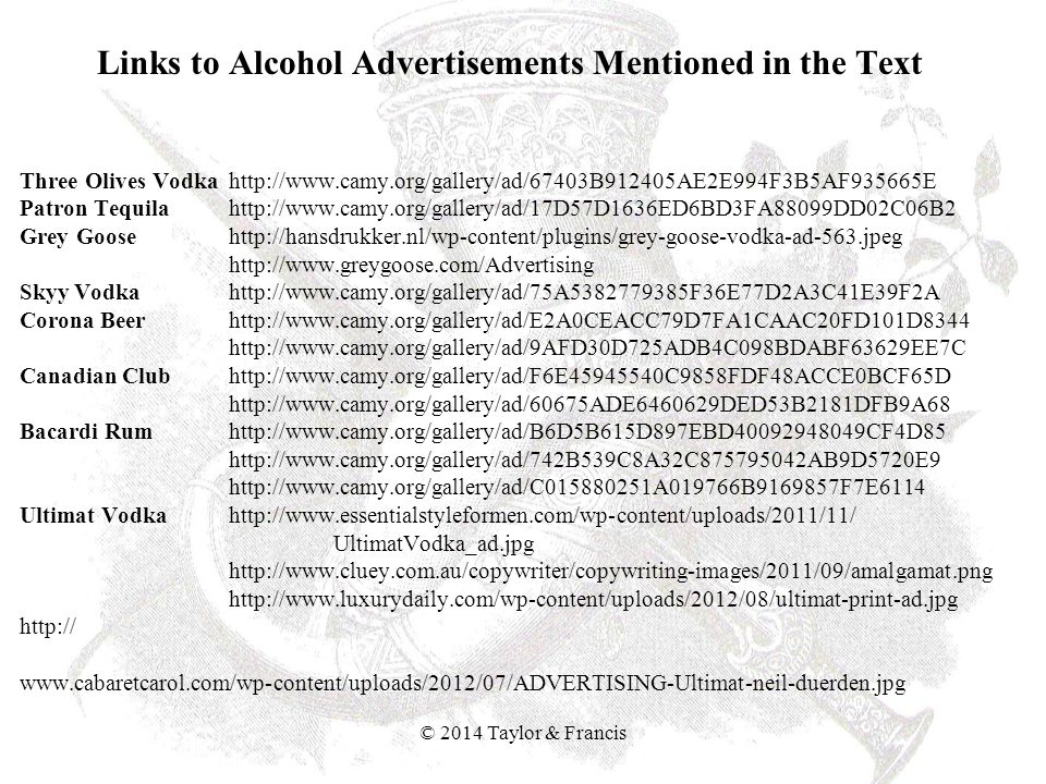 Links to Alcohol Advertisements Mentioned in the Text