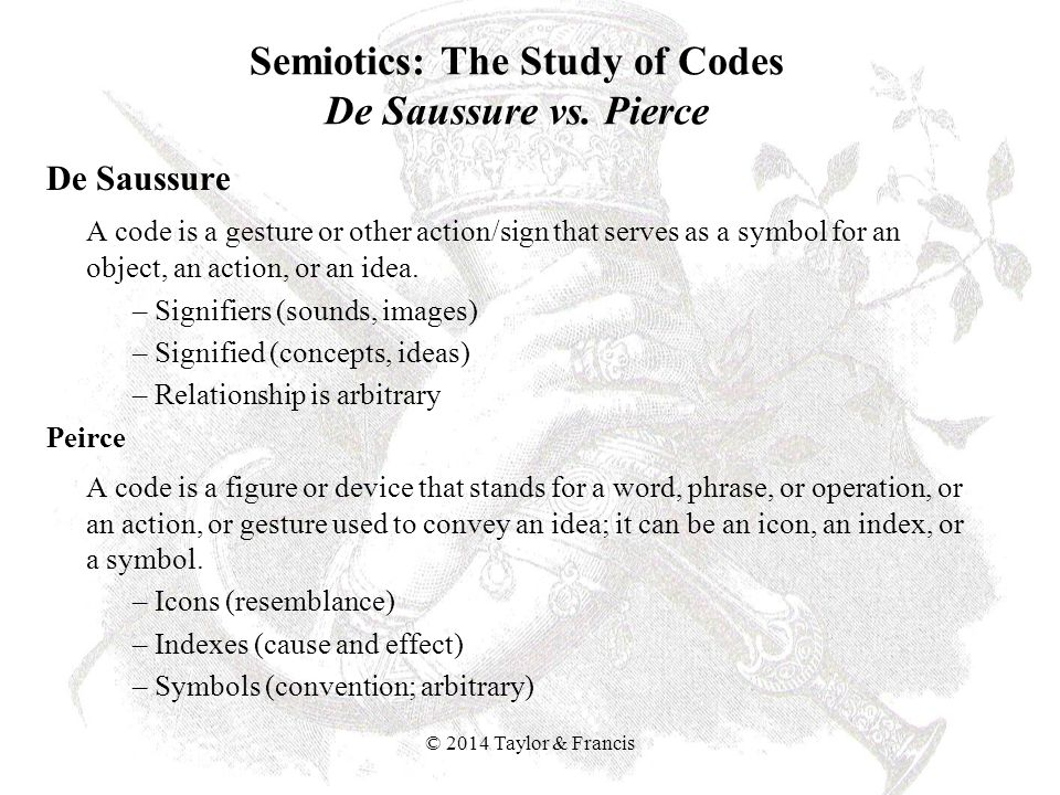 Semiotics: The Study of Codes De Saussure vs. Pierce