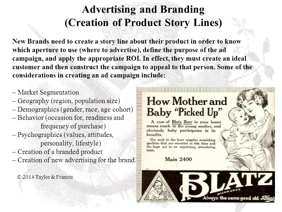 Advertising and Branding (Creation of Product Story Lines)