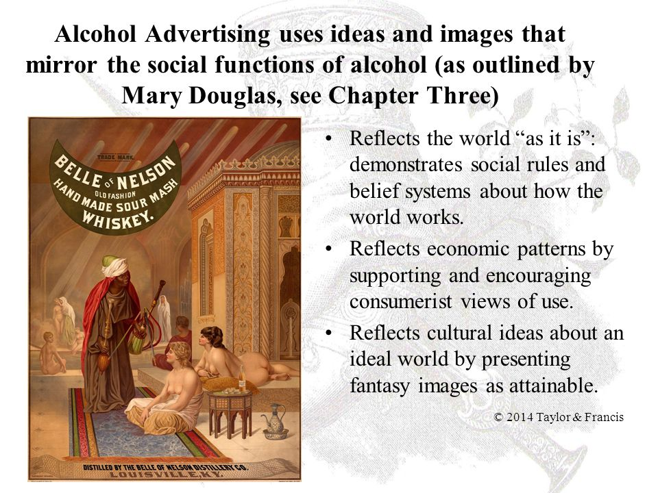 Alcohol Advertising uses ideas and images that mirror the social functions of alcohol (as outlined by Mary Douglas, see Chapter Three)