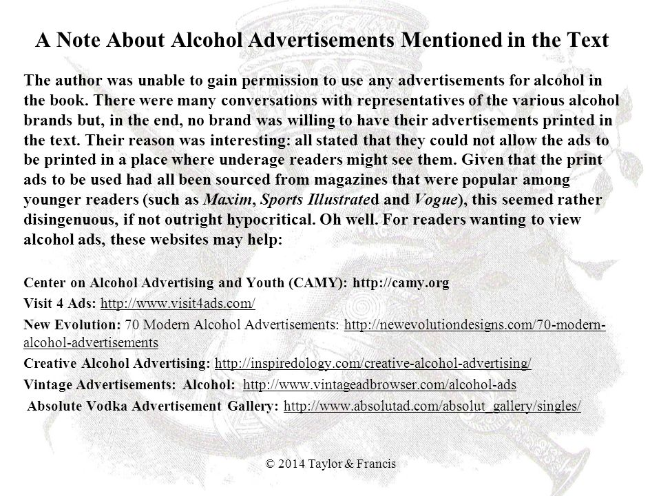 A Note About Alcohol Advertisements Mentioned in the Text