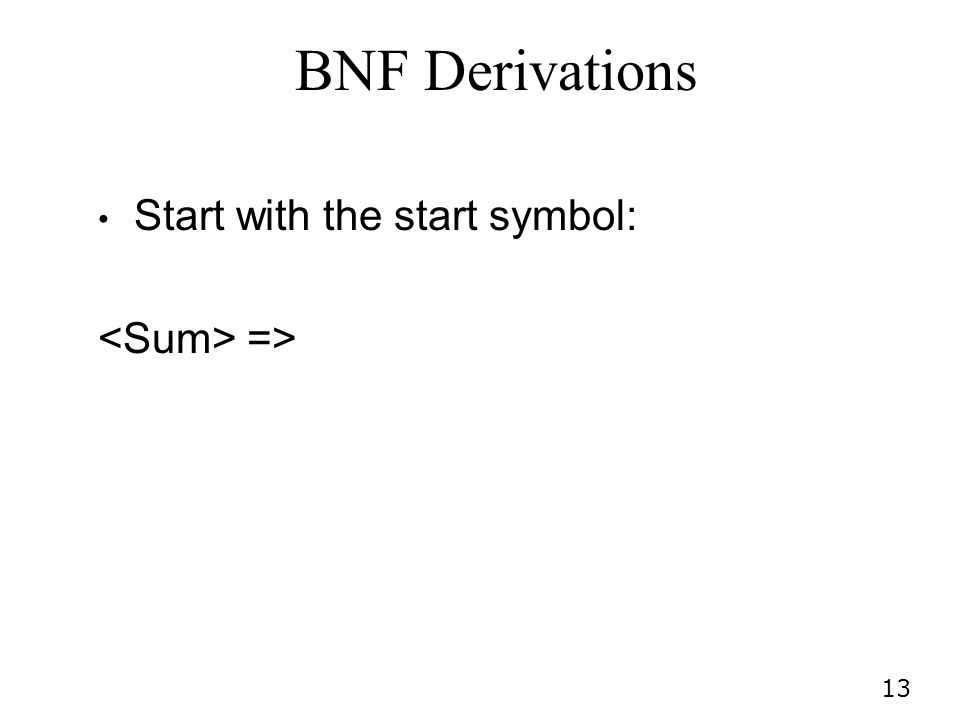 BNF Derivations Start with the start symbol: <Sum> =>
