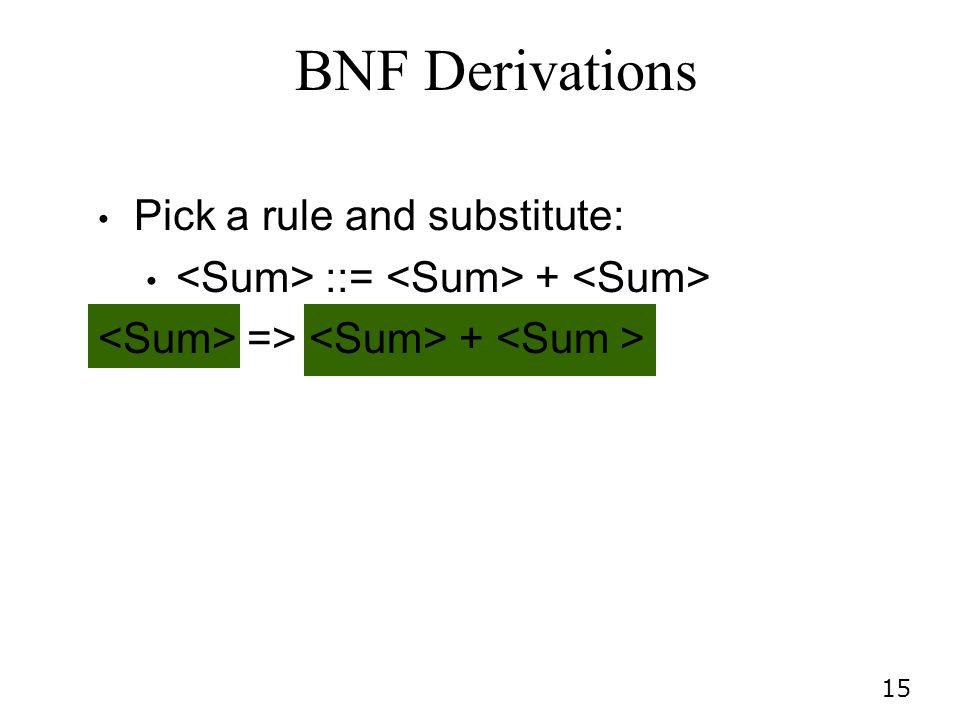 BNF Derivations Pick a rule and substitute: