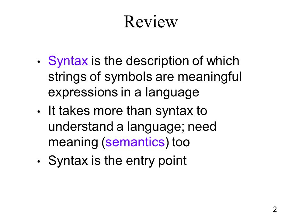 Review Syntax is the description of which strings of symbols are meaningful expressions in a language.