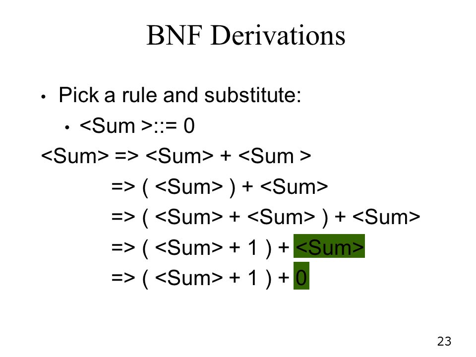 BNF Derivations Pick a rule and substitute: <Sum >::= 0