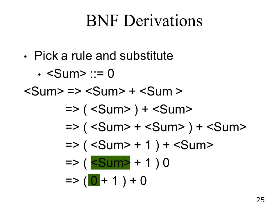 BNF Derivations Pick a rule and substitute <Sum> ::= 0