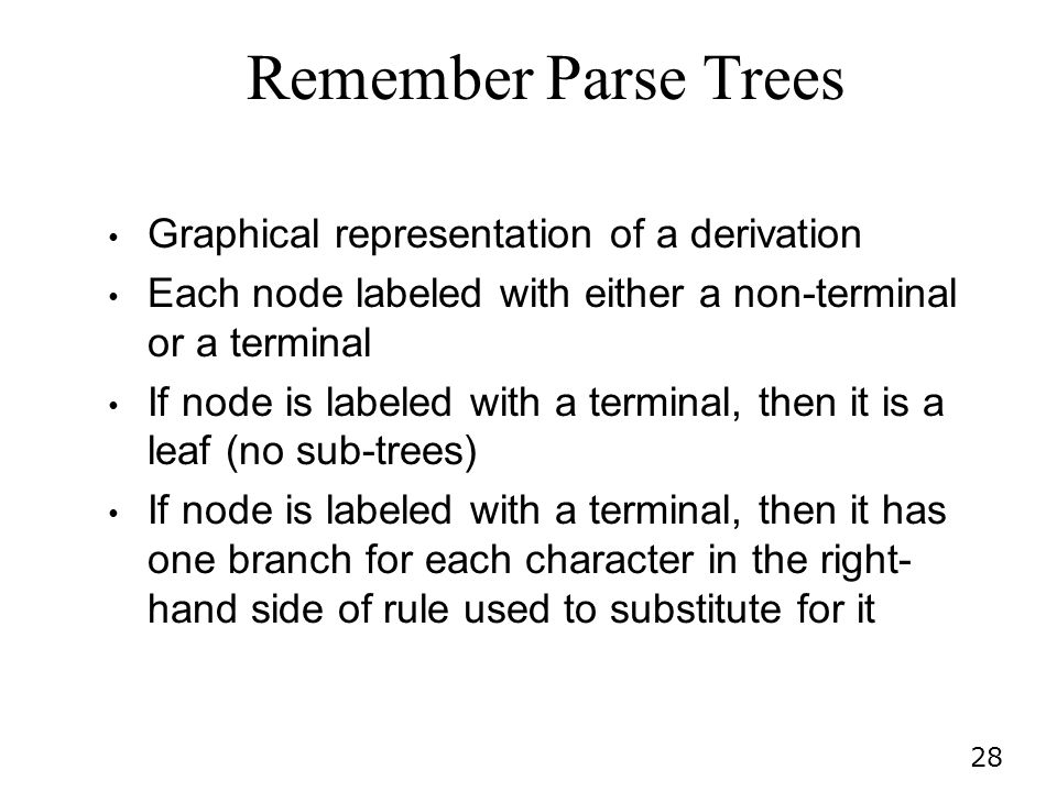 Remember Parse Trees Graphical representation of a derivation