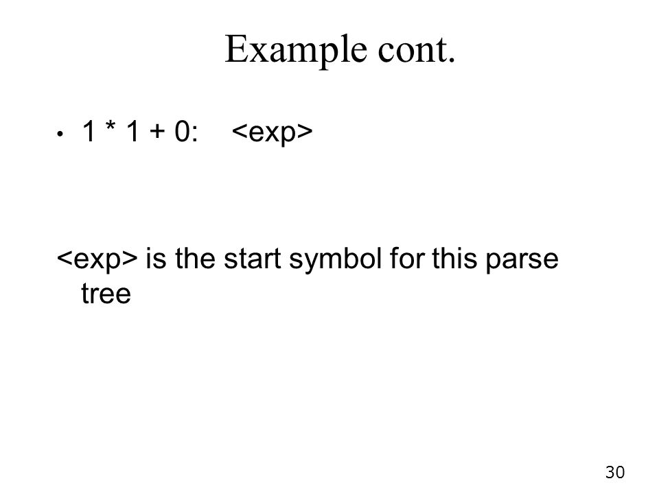 Example cont. 1 * 1 + 0: <exp>