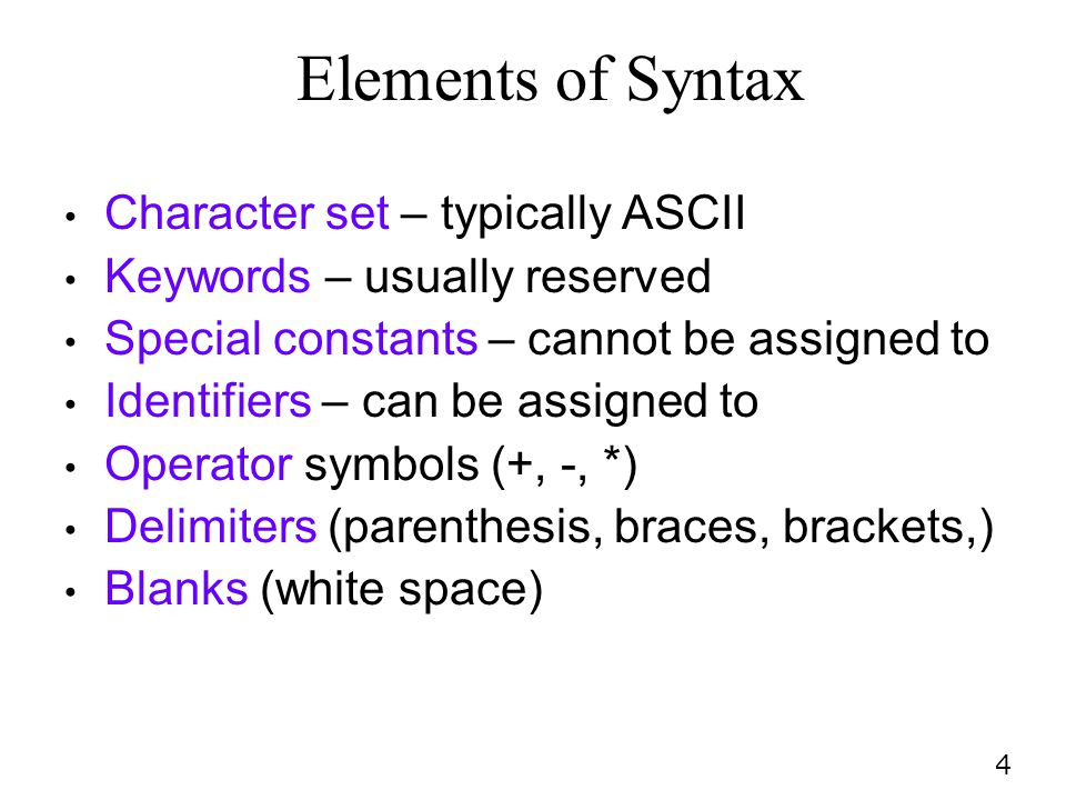 Elements of Syntax Character set – typically ASCII