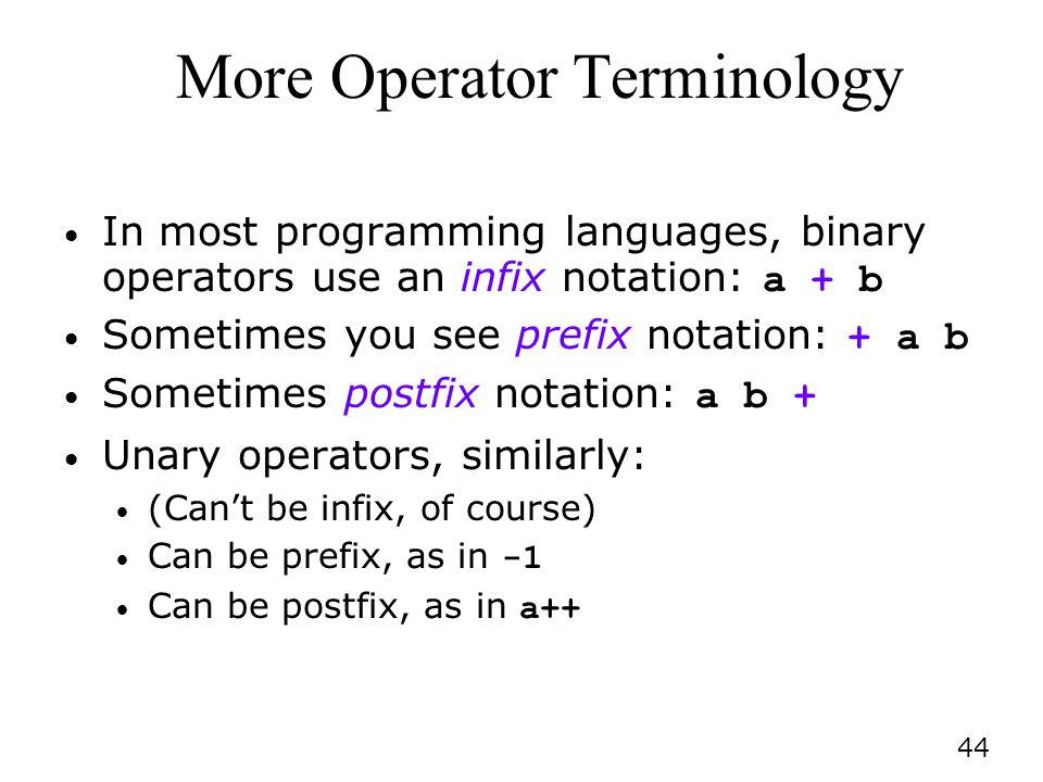 More Operator Terminology