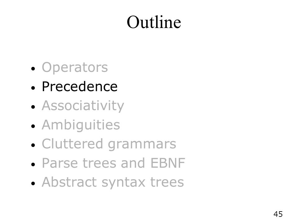 Outline Operators Precedence Associativity Ambiguities