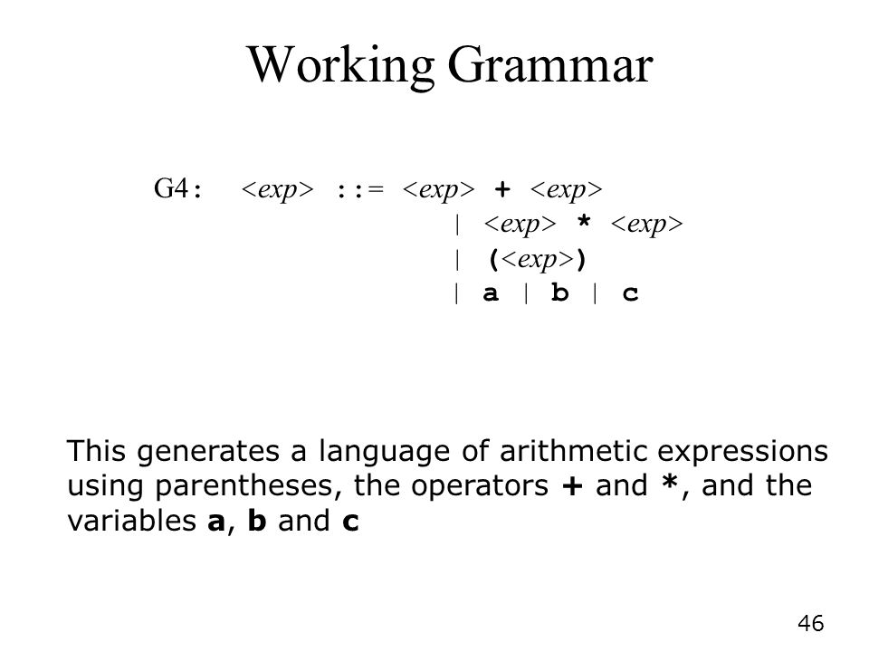 Working Grammar G4: <exp> ::= <exp> + <exp> | <exp> * <exp> | (<exp>) | a | b | c.