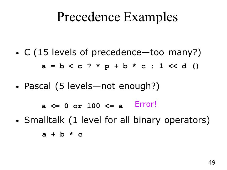 Precedence Examples C (15 levels of precedence—too many )