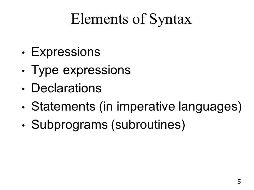 Elements of Syntax Expressions Type expressions Declarations