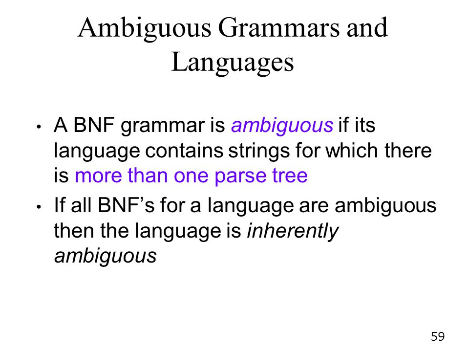Ambiguous Grammars and Languages