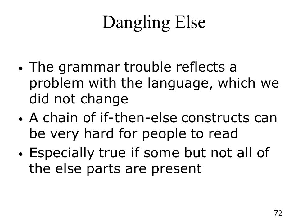 Dangling Else The grammar trouble reflects a problem with the language, which we did not change.