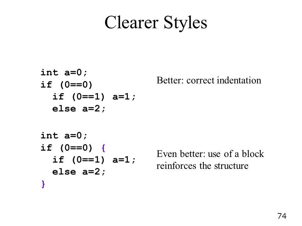 Clearer Styles int a=0; if (0==0) if (0==1) a=1; else a=2;