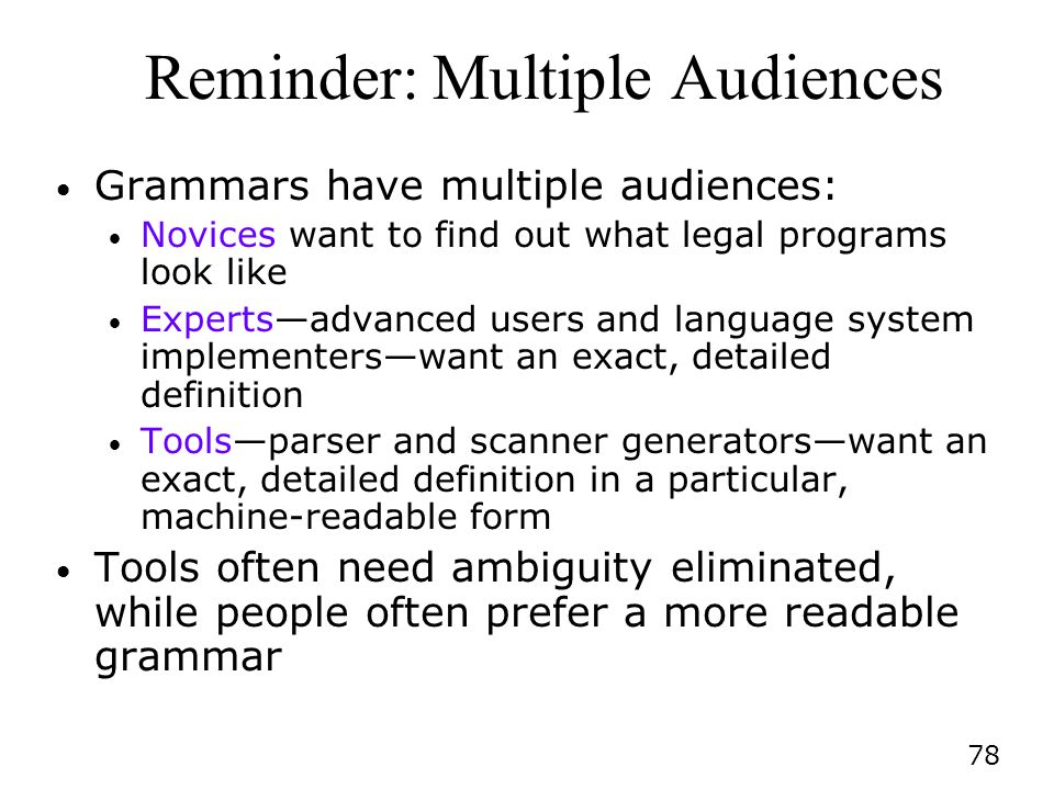 Reminder: Multiple Audiences