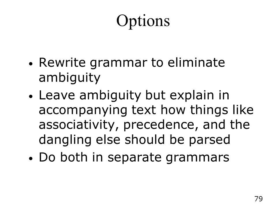 Options Rewrite grammar to eliminate ambiguity