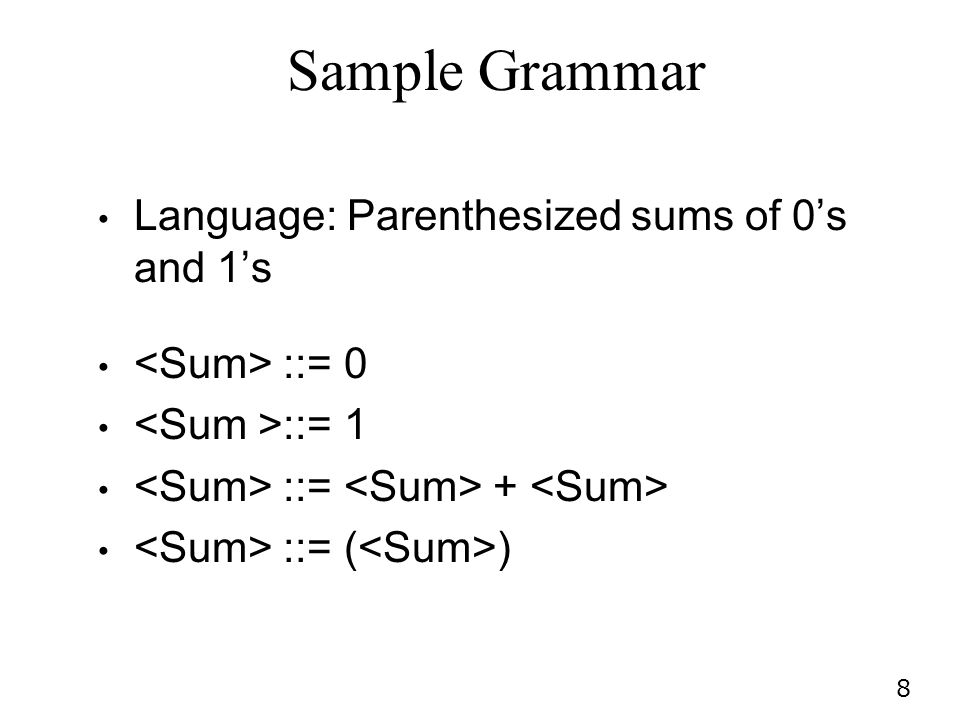 Sample Grammar Language: Parenthesized sums of 0's and 1's
