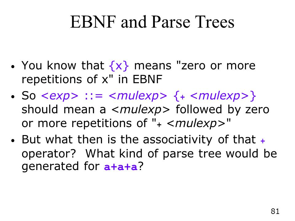 EBNF and Parse Trees You know that {x} means zero or more repetitions of x in EBNF.