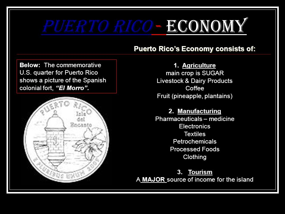 Puerto Rico's Economy consists of: